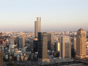 Downtown Ramat Gan panorama at Sunset